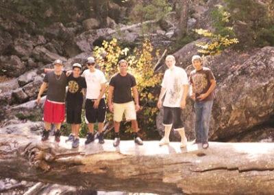 Group of guys on a log