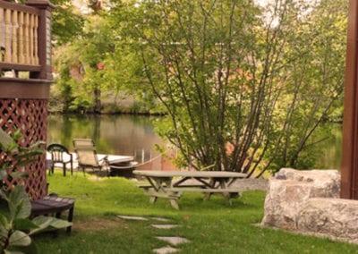 Riverbank outside picnic table